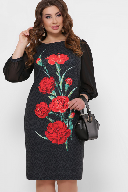 платье для полных с цветочным принтом. Гвоздики платье Теона-Б д/р. Цвет: черный