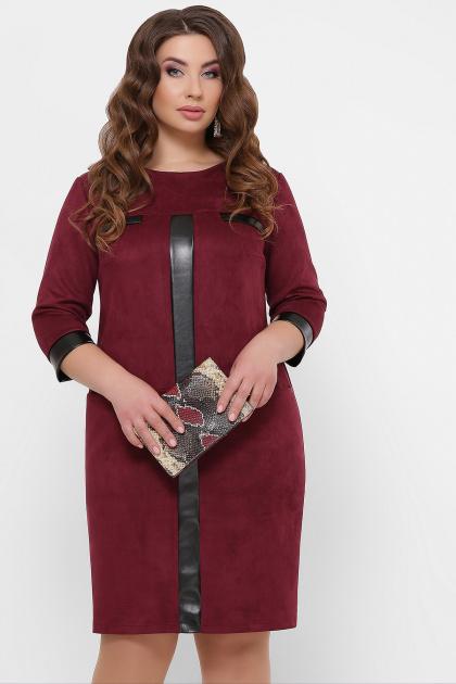 замшевое платье для полных женщин. платье Руфина-Б д/р. Цвет: бордо