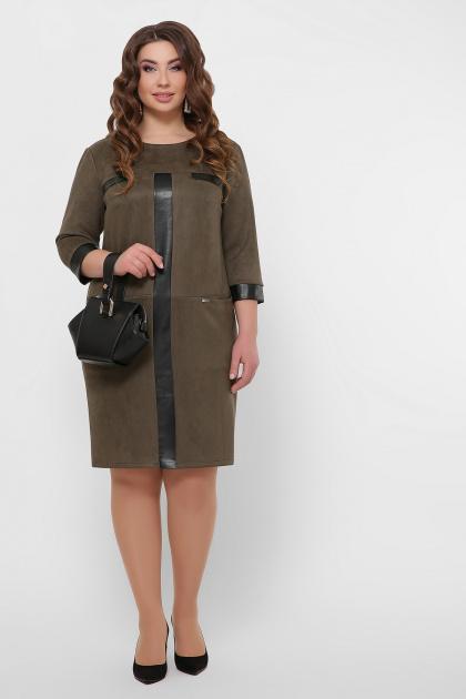 замшевое платье для полных женщин. платье Руфина-Б д/р. Цвет: хаки