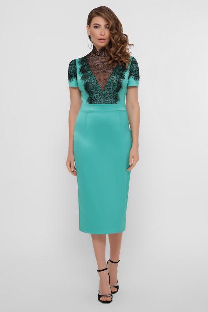 кружевное атласное платье. платье Дафния к/р. Цвет: св. зеленый