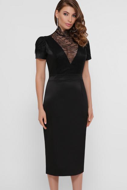 кружевное атласное платье. платье Дафния к/р. Цвет: черный