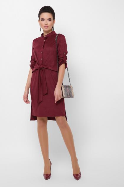 бордовое платье из замши. платье Мерида д/р. Цвет: бордо