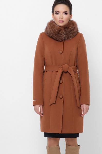 бежевое пальто с меховой опушкой. Пальто П-330-90 з. Цвет: 6139-горчица