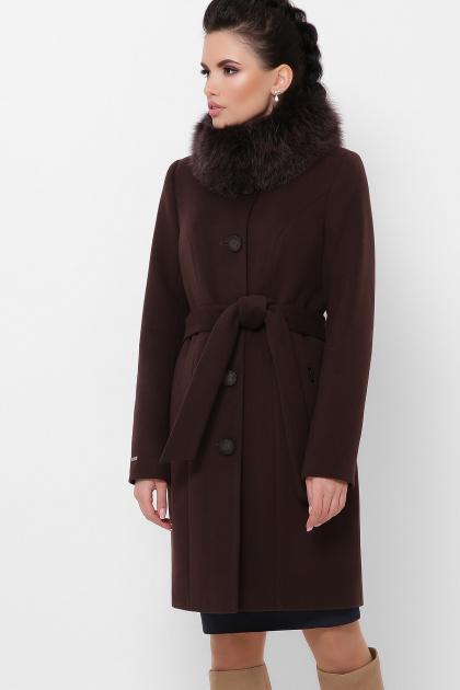 бежевое пальто с меховой опушкой. Пальто П-330-90 з. Цвет: 6099-коричневый