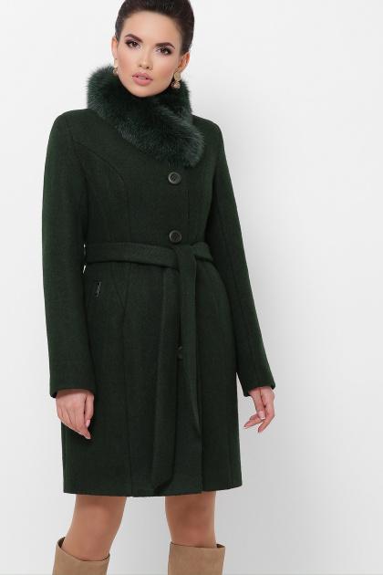 . Пальто П-333-з мех. Цвет: 2105-т.зеленый
