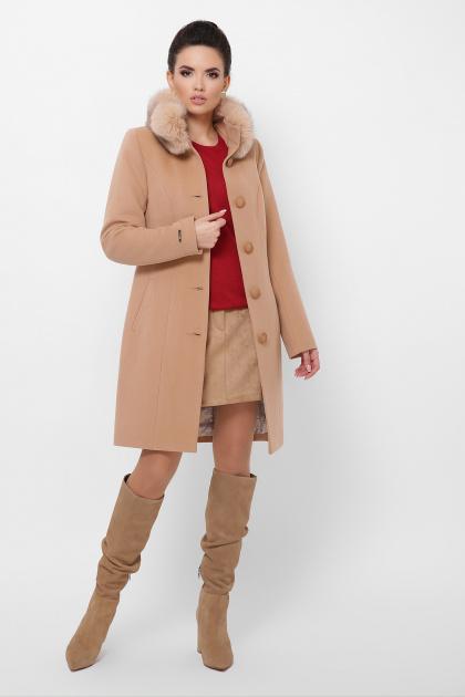 бежевое пальто с меховой опушкой. Пальто П-330-90 з. Цвет: 8134-бежевый