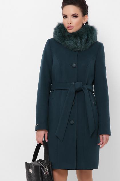 бежевое пальто с меховой опушкой. Пальто П-330-90 з. Цвет: 7169-изумруд