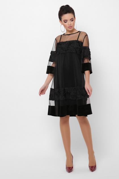 двойное платье больших размеров. платье Хелма-Б 3/4. Цвет: черный 1