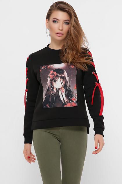 кофта аниме со шнуровкой. Девочка с яблоком Свитшот Аниме (зима) д/р. Цвет: черный