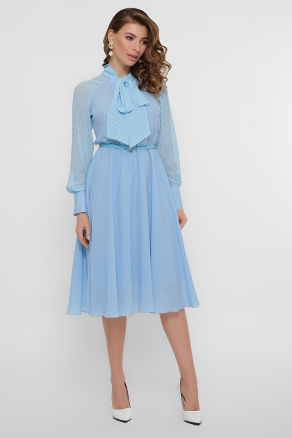 синее платье из креп-шифона. платье Аля д/р. Цвет: голубой