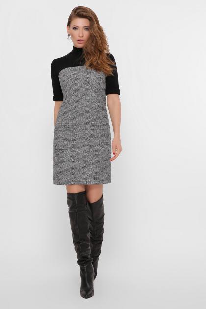 платье из букле с короткими рукавами. платье Дилора к/р. Цвет: букле ромб-черный