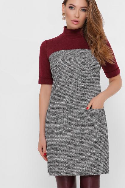платье из букле с короткими рукавами. платье Дилора к/р. Цвет: букле ромб-бордо