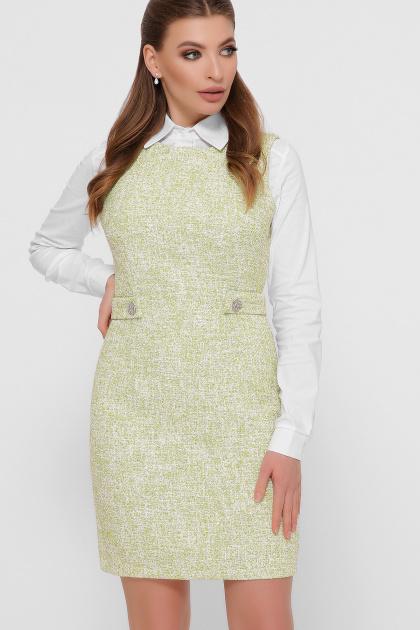 персиковое платье без рукавов. платье Элиана б/р. Цвет: оливковый
