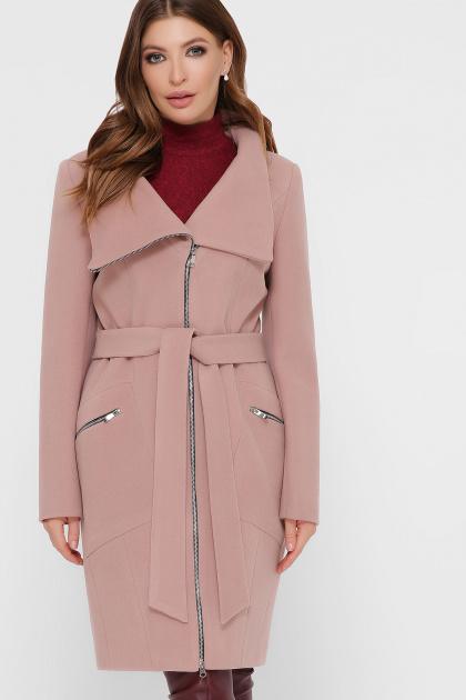 горчичное пальто на молнии. Пальто ПМ-29. Цвет: пудра