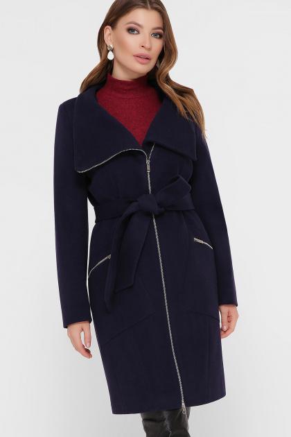горчичное пальто на молнии. Пальто ПМ-29. Цвет: синий