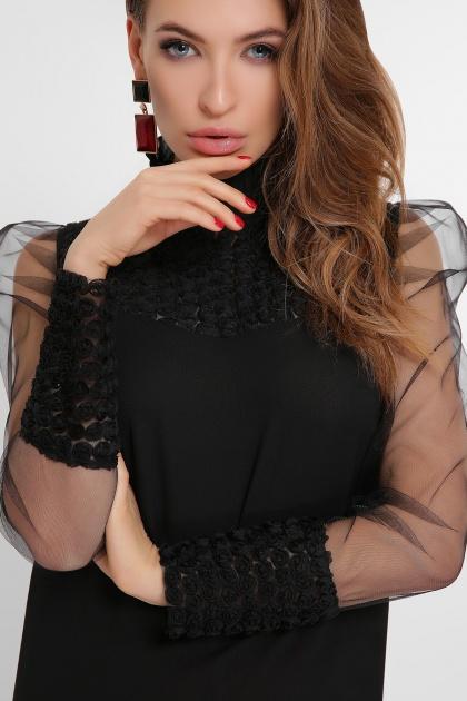 блузка черного цвета с прозрачными рукавами. блуза Соломея д/р. Цвет: черный 1