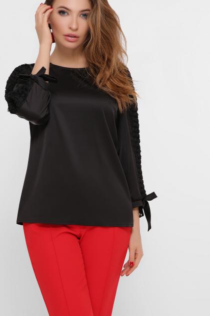 черная блузка с розами. блуза Флавия 3/4. Цвет: черный 1