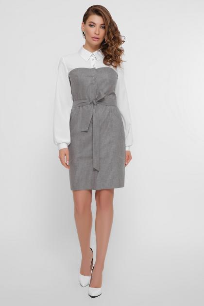 офисное серое платье. платье Линси д/р. Цвет: серый-роз.полос-бел.отд
