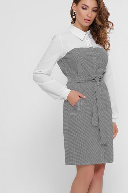 офисное серое платье. платье Линси д/р. Цвет: лапка м.черная-бел.отд.