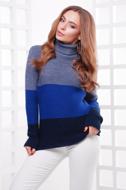 трехцветный вязаный свитер. Свитер 145. Цвет: св.джинс-электрик-т.синий