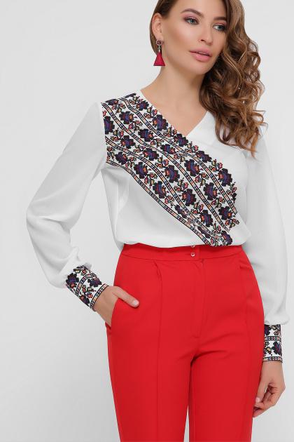 блузка из креп-шифона с принтом. Вышивка блуза Верика д/р. Цвет: белый
