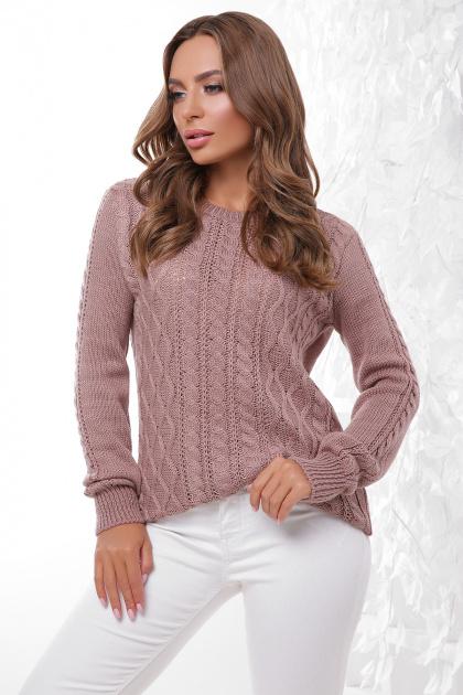 терракотовый свитер с косами. Свитер 158. Цвет: фрез