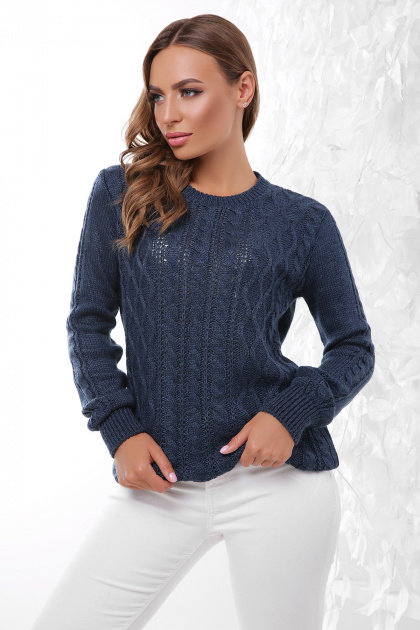 терракотовый свитер с косами. Свитер 158. Цвет: джинс
