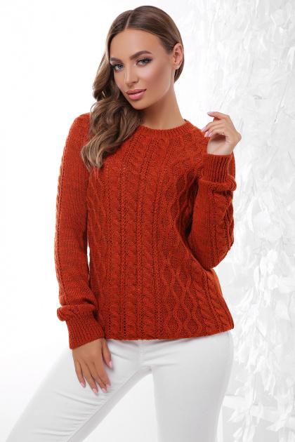 терракотовый свитер с косами. Свитер 158. Цвет: терракот