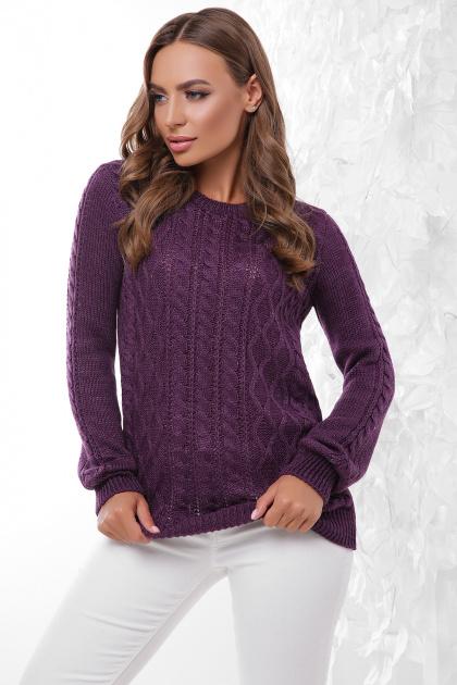 терракотовый свитер с косами. Свитер 158. Цвет: фиолетовый