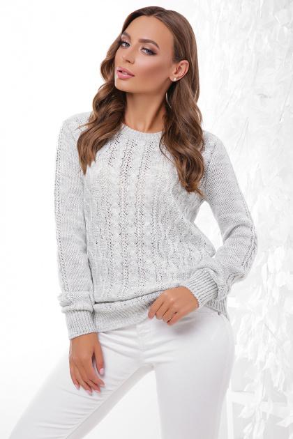 терракотовый свитер с косами. Свитер 158. Цвет: светло-серый