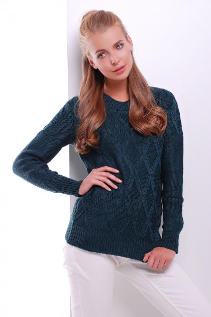 стильный женский вязаный свитер темно-синий. Свитер 17. Цвет: темно-зеленый