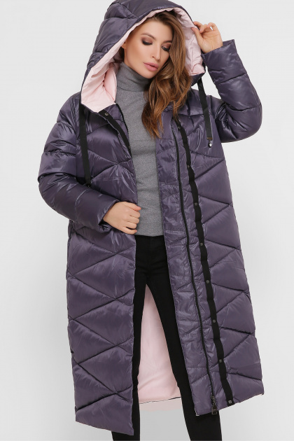 длинная зимняя куртка. Куртка 8230. Цвет: 41-графит