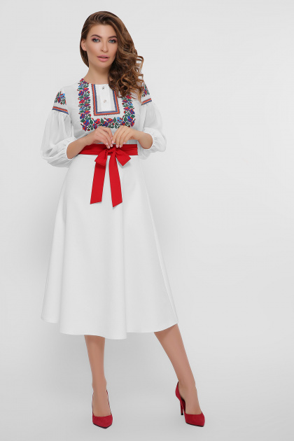 черное платье с орнаментом. Орнамент платье Сапфира д/р. Цвет: белый
