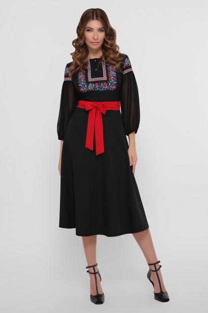черное платье с орнаментом. Орнамент платье Сапфира д/р. Цвет: черный