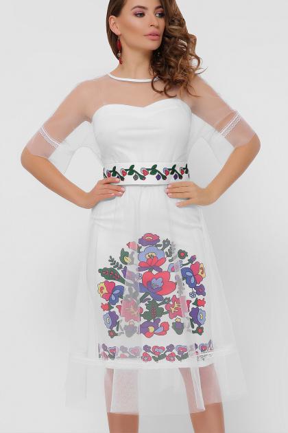 цветочное платье с сеткой сверху. Цветочный орнамент платье Уна б/р. Цвет: белый