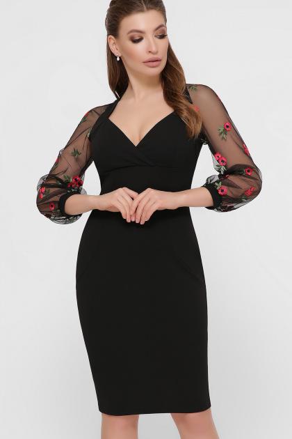 черное платье с вышивкой. платье Флоренция В д/р. Цвет: черный 1