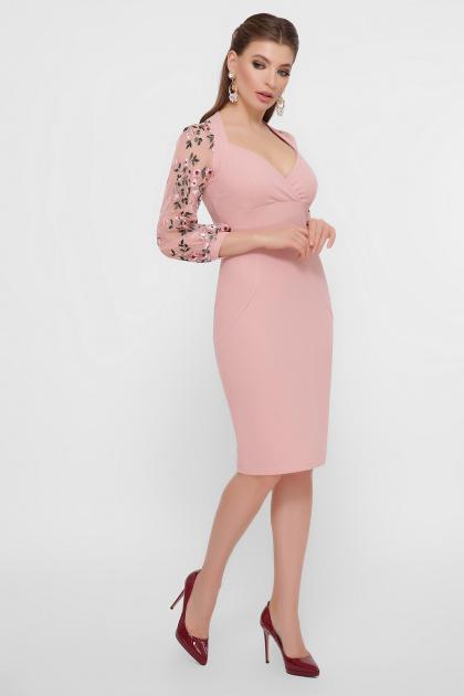 черное платье с вышивкой. платье Флоренция В д/р. Цвет: персик