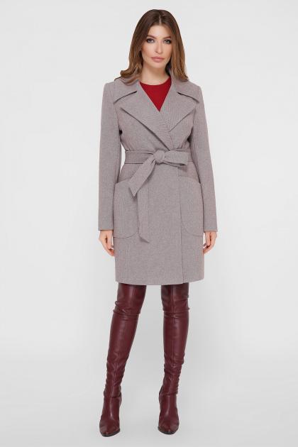 серое пальто с накладными карманами. Пальто ПМ-123. Цвет: 12-серый