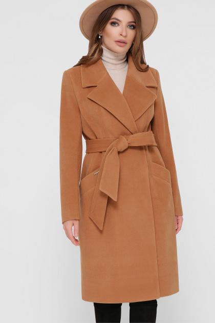 коричневое пальто из кашемира. Пальто ПМ-125. Цвет: 6-горчица