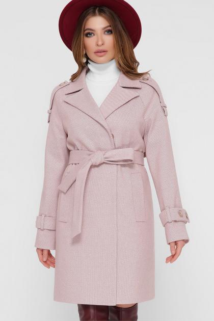 персиковое пальто с поясом. Пальто ПМ-129. Цвет: 17-персик
