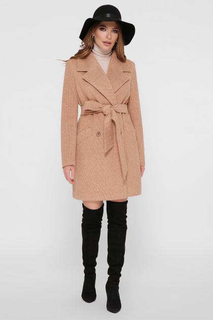 светло-серое двубортное пальто. Пальто ПМ-132. Цвет: 11-горчица