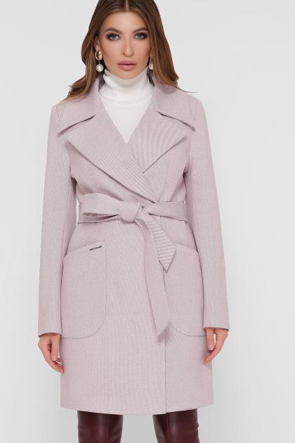 серое пальто с накладными карманами. Пальто ПМ-123. Цвет: 16-пудра