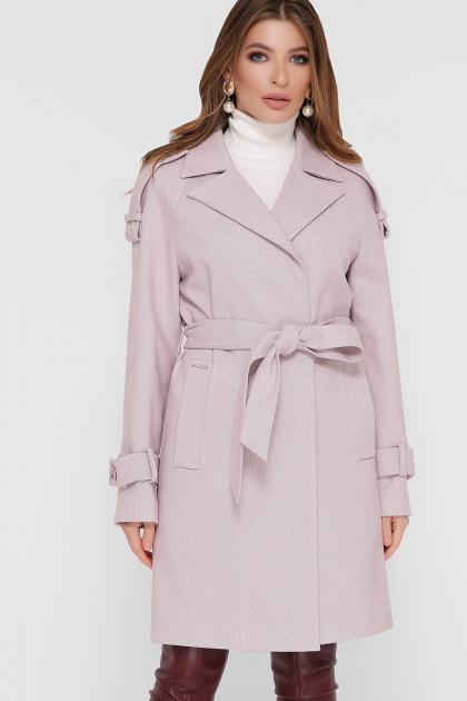 персиковое пальто с поясом. Пальто ПМ-129. Цвет: 16-пудра