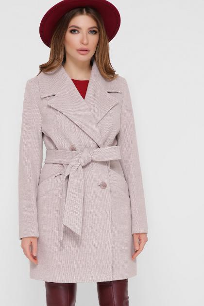 светло-серое двубортное пальто. Пальто ПМ-132. Цвет: 26-св.серый