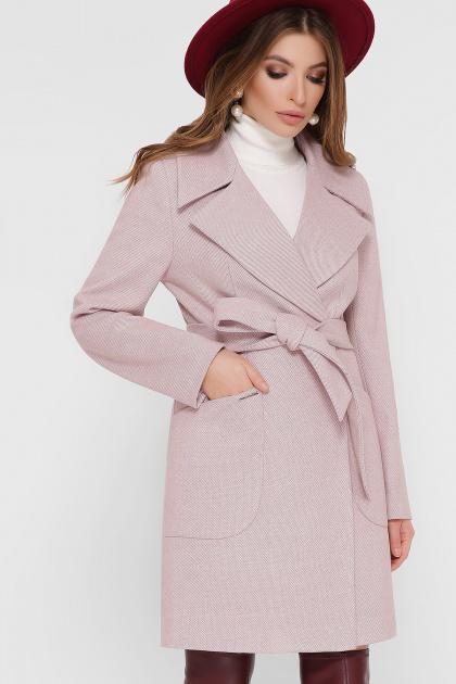 серое пальто с накладными карманами. Пальто ПМ-123. Цвет: 17-персик