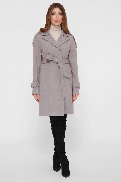 персиковое пальто с поясом. Пальто ПМ-129. Цвет: 12-серый