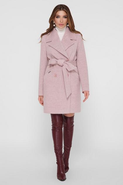 светло-серое двубортное пальто. Пальто ПМ-132. Цвет: 27-пудра