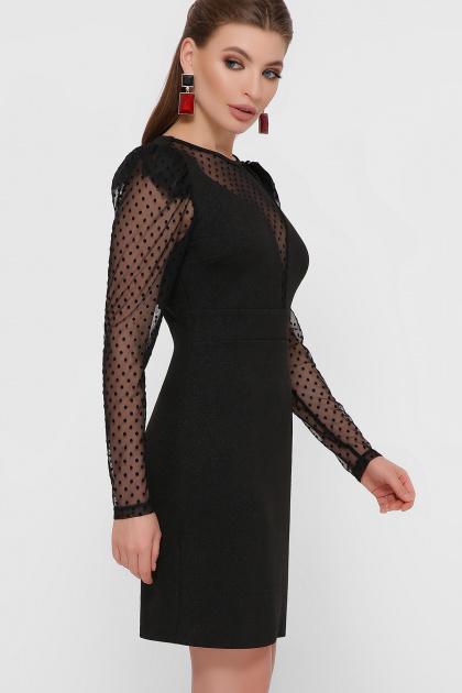 синее платье в горошек. платье Береника д/р. Цвет: черный