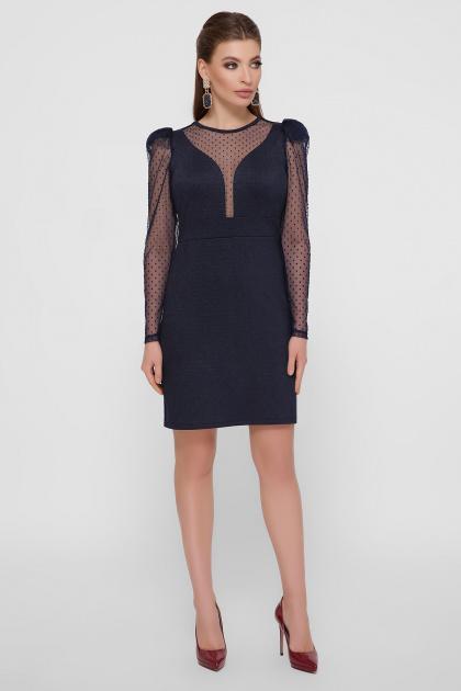 синее платье в горошек. платье Береника д/р. Цвет: синий