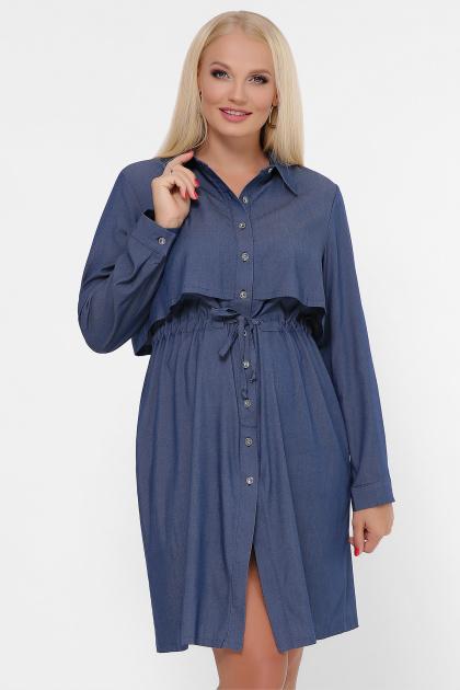 бордовое платье для полных женщин. 0301 Платье-рубашка. Цвет: джинс